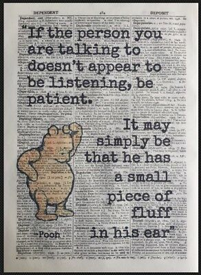 Winnie The Pooh Print Vintage Dictionary Page Picture Wall Art Bear Funny Quote