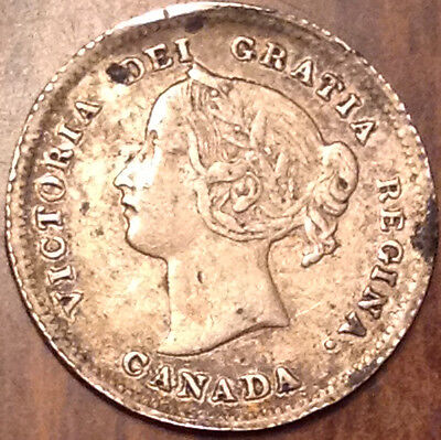 1899 Canada Silver 5 Cents In Better Grade