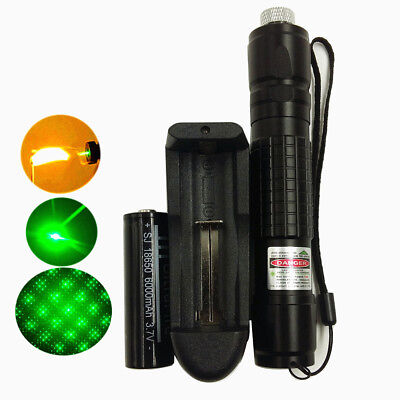 Military Green 5mw 532nm Laser Pointers Lazer Pen Beam Zoom Burn+18650+Charger