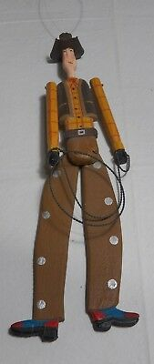Vintage Jointed Cowboy  with Rope Ornament Western Rustic Handmade