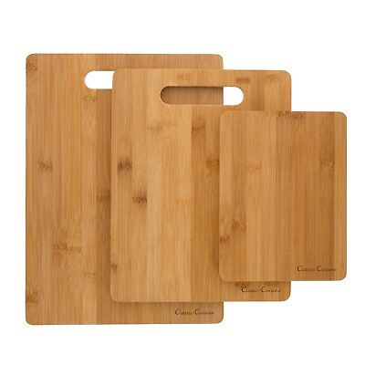 3 Bamboo Cutting Boards Antibacterial Chopping Carving Wooden Serving Board
