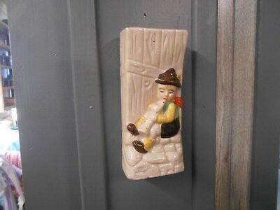 vintage Japan Little boy playing / blowing a horn / instrument wall pocket