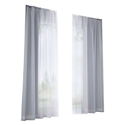 2 Pieces Voile Sheer Window Curtain Grommet Panels Treatment Drape