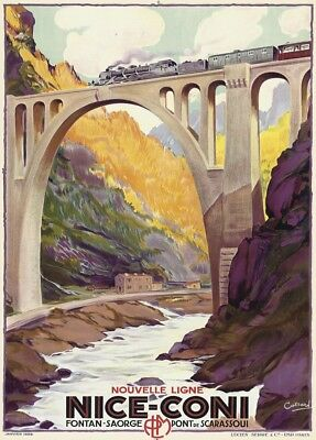 Nice - Coni, France, 1929, Vintage French Art Deco Travel Poster