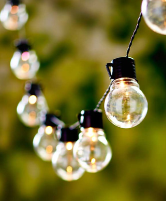 Outdoor String Lights Solar Bulb Patio Lighting Porch Pergola Clear or Color