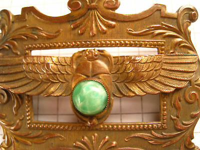 Antique Vintage Egyptian Revival Art Deco Nouveau Scarab Jade? Jeweled Brooch