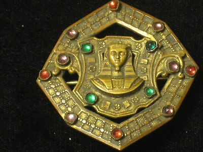 Antique Vintage Egyptian Revival Sphinx Art Deco Nouveau Red Jeweled Pin Brooch