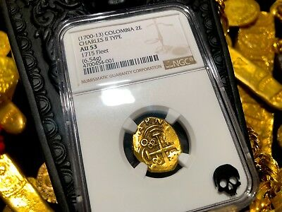 """Colombia 2 Escudos 1700-13 """"1715 Plate Fleet Shipwreck"""" Ngc 53 Pirate Gold Coins"""