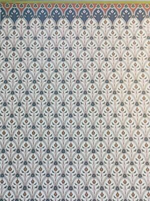 "Dollhouse Miniature Brodnax Victorian Wallpaper Cream & Blue ""Byzantium"" 1:12"