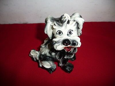 Large Vtg. Ceramic Pottery Spaghetti Terrier Dog Figure Hand Painted in Italy