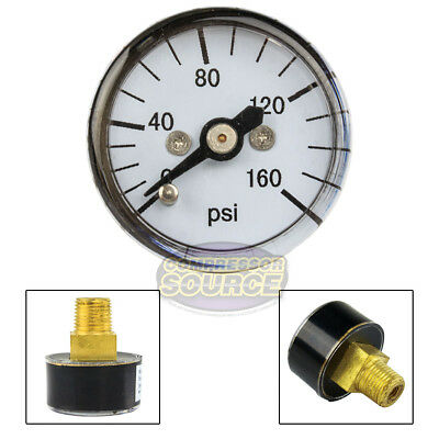 "1/8"" MNPT Mini Micro Air Pressure Gauge 0-160 PSI 1"" Face CBM Center Back Mount"