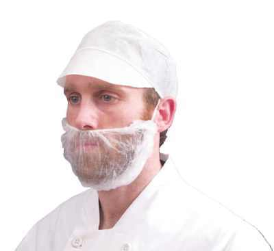 1000 x Disposable Beard Mask Snood Cover Catering Food Safe Beard Mask WHITE