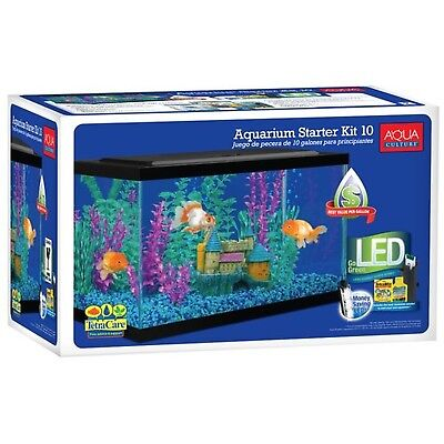 Aqua Culture Aquarium Starter Kit with LED, 10-Gallon
