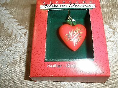"1988 Vintage Miniature Hallmark Christmas Ornament From ""mother"" ~T9063"
