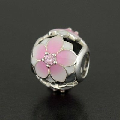 408dfcce0 NEW Authentic Pandora Magnolia Bloom Cerise Enamel 792087PCZ CHARM Bead