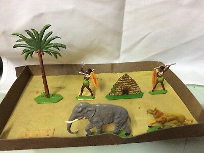 Britains Figures ? Rare Unbranded Unknown Maker Lead Figures Animals Etc African