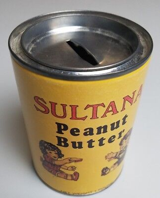 Vintage Sultana Peanut Butter Miniature Toy Tin Can Coin Jar Antique Decoration