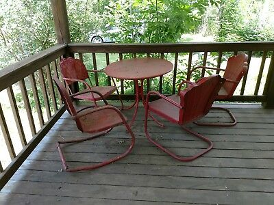 antique steel patio furniture ten pieces available