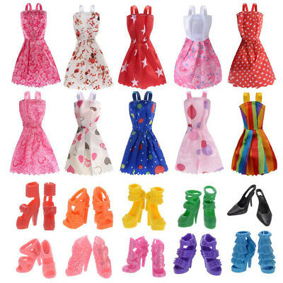 10PCs Colorful Barbie Doll Clothes Party Gown Outfits With 10 Pairs Doll Shoes