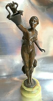 H. Godet Signed Bronze Sculpture Figure Lady Snakes Marble Base Awesome Quality