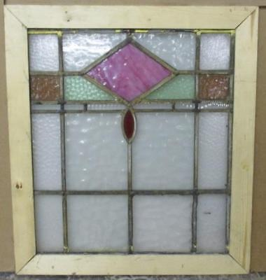 "OLD ENGLISH STAINED GLASS WINDOW Pretty Geometric Abstract 19.5"" x 22"""