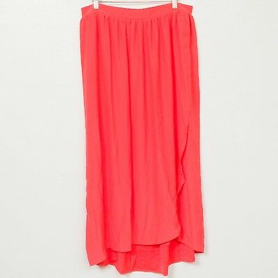 Liz Lange Maternity Skirt XS Womens Coral Maxi Long Modest Faux Wrap Stretch