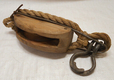 Vintage Wooden Ship's Pulley One Wooden Wheel with Hooks Japanese  #202