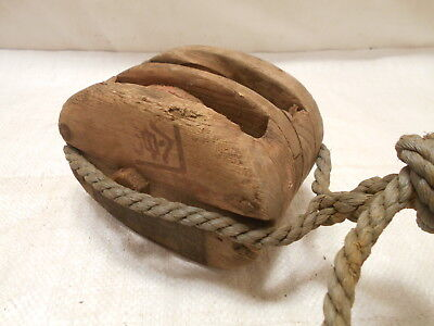 Vintage Wooden Ship's Pulley Two Wooden Wheels  Japanese Markings Medium #205