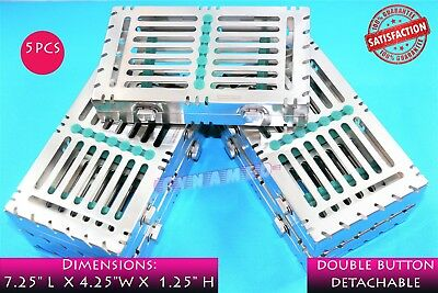 5Pcs Sterilization Cassette For 7 Instruments German Premium 2 Button Detachable