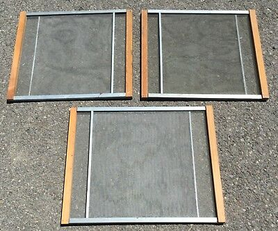 Old Vtg Antique Marvin Window Wood Metal Adjustable Expandable Screen Set Of 3