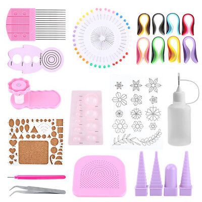 Quilling Paper Craft Rolling Kit Slotted Tools Strips Tweezer Pins Slotted Y7G1