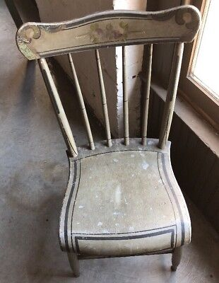 Antique Early American Chairs Gray Hand Painted Old Paint 1850's ?