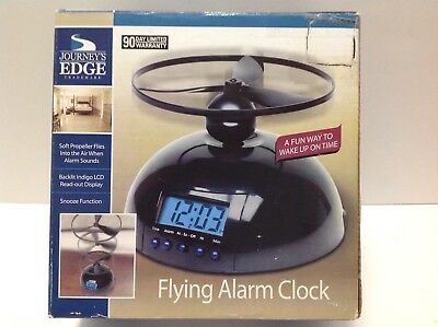 Crazy Flying Alarm Clock Digital LCD Helicopter Propeller Battery Operated New