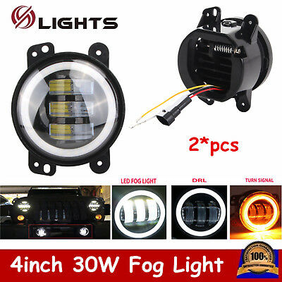 2X 4inch 30W LED Fog Light White Halo Amber Turn Signal DRL for Jeep Wrangler JK