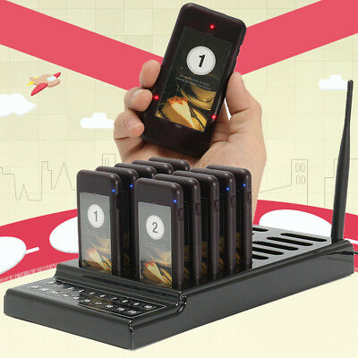 Wireless 10 Restaurant 20 Slot Coaster Pager Guest Paging Queuing Calling System