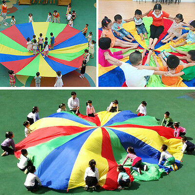 UK Kids Play Rainbow Parachute Outdoor Game Exercise Fun Sport Garden Toy Gifts