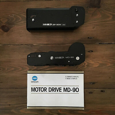 Minolta Motor Drive MD-90 with Owner & Battery Pack BP-90M & MD-90