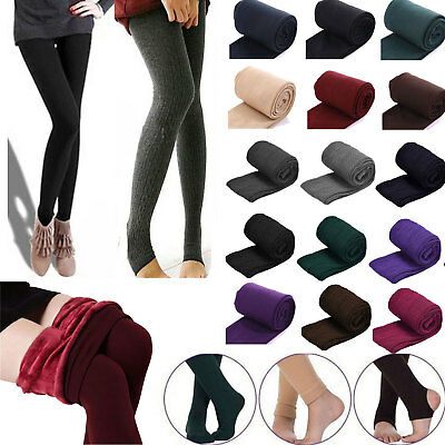 Women Winter Warm Thick Fleece Lined Slim Skinny Thermal Stretchy Tight Pants AU