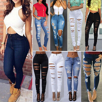 Womens Stretchy Ripped Jeans Frayed Skinny High Waist Denim Pencil Pant Trousers