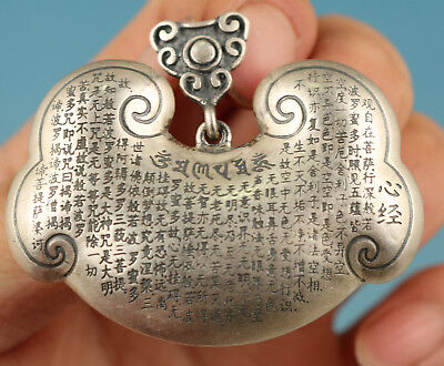 21 Gram Purity 999 Sterling Silver Solid longevity lock Hand Pendant Old statue