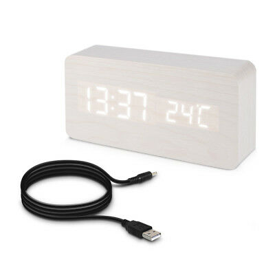 Digital Wooden Bedside Clock with Date Weather White LED Display and USB Cable