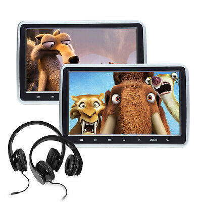 """Portable 2x10.1"""" Touch Screen Android Car DVD Player Headrest Monitor HDMI WiFi"""