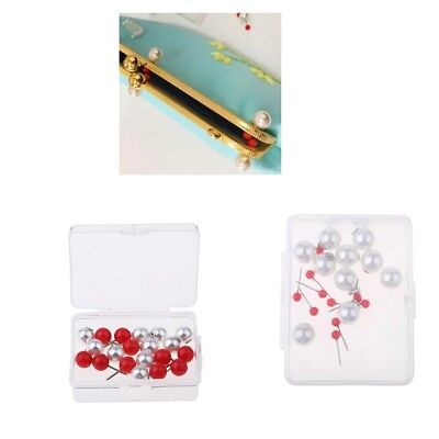 10Pc Boxed Steel Pearl Head Pins Purse Bag Frame Fixing Needles DIY Findings