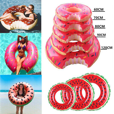 Inflatable Swim Ring Giant Bite Shaped Donut Swimming Pool Float Lounger Beach L