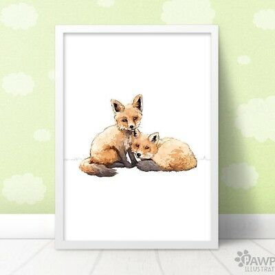 Twin Fox Wall Art | Woodland Nursery Print New Baby Gift for Twins | Unframed