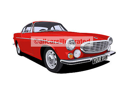 Volvo P1800 Car Art Print Picture (Size A4). Personalise It!