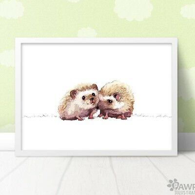 Twin Hedgehog Print | Woodland Nursery New Baby Gift for Twins | Unframed