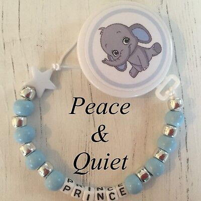 Personalised Wooden Dummy Clip💙baby elephant🐘Chain💙Blue🐘boy💙 Cute💙 #BWP