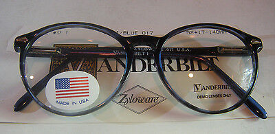Vintage Vanderbilt 1 Demi Blue 52/17 Spear Shield USA P3 Eyeglass Frame NOS