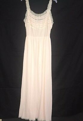 Vintage Nightgown Size Small Pink Lace Juliana Lingerie Nylon Empire Waist